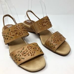 Pikolinos Sandals 38 7.5 Tan Leather Comfort Shoes